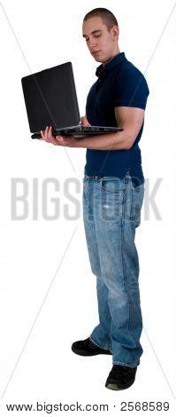 Student mit Hinweis Buch computer