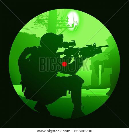Vector silhouette of a soldier with a gun