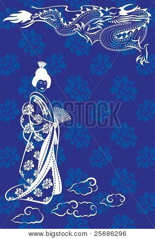 Vector illustration of a oriental dragon and a geisha