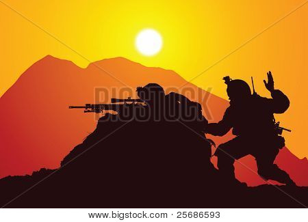 Vector silhouette of two snipers