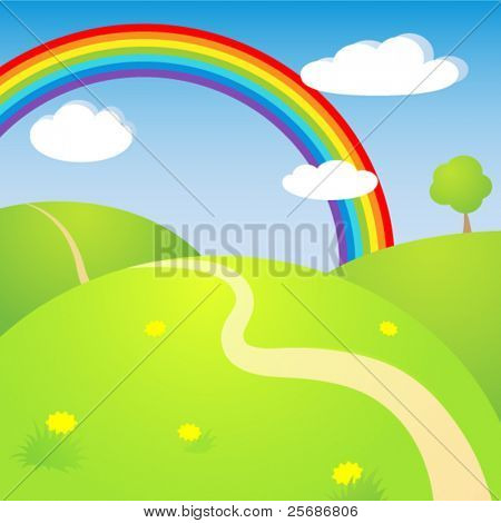 Sunny landscape with rainbow