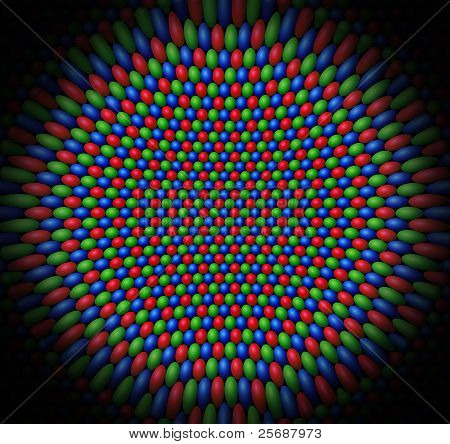 Concave Surface Of Red, Green And Blue Spheres Representing The Cones Of A Retina