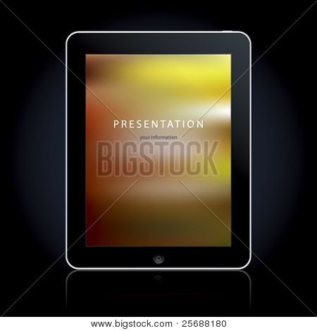 Tablet computer on the black background. Vector illustration.