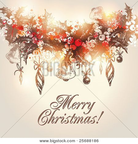 Christmas hand drawn holly garland with christmas decorations on a beige background. Vector illustration.