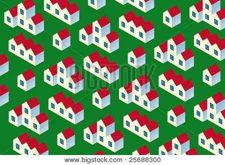 Real Estate Pattern. White village buildings with red roof  on green background.