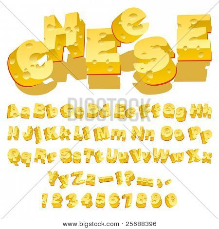 Cheese decorative letters (Typecase) on white background. Vector Illustration