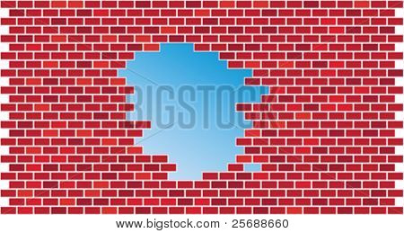 Brick wall with hole-vector