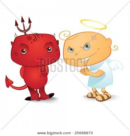 Cute demon and nos so cute angel