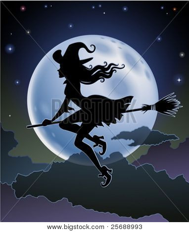Silhouette of a beautiful witch flying in front of a full moon