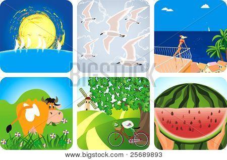 Iconos de la colección de verano