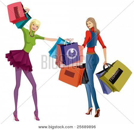 Two beautiful young women with shopping bags