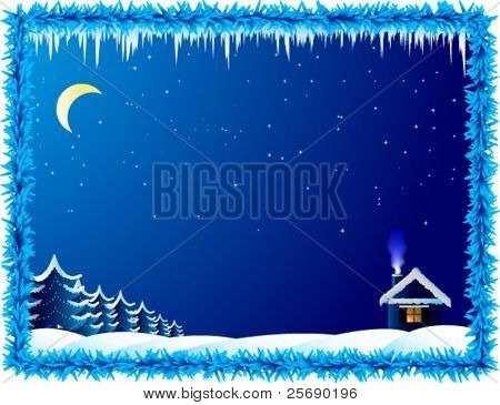Vector lonely house in frosty night