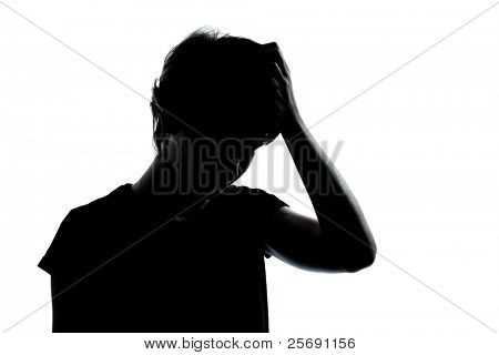 one caucasian young teenager thinking problems  silhouette boy or girl portrait in studio cut out isolated on white background