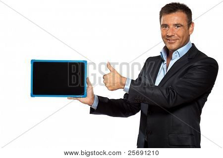 one caucasian business man pointing blackboard message copy space in studio isolated on white background
