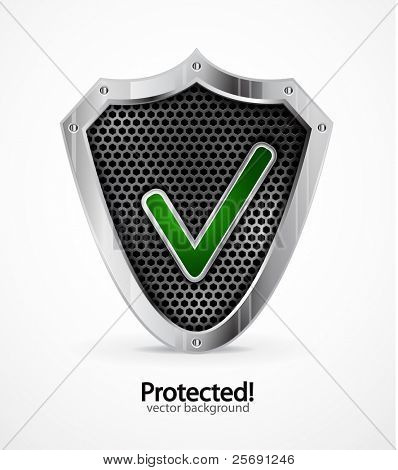Protected background. Vector steel shield with check mark