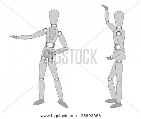 Wooden mannequins ( ready to move ), posing and holding, isolated on white