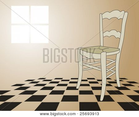 Room with a abandon chair