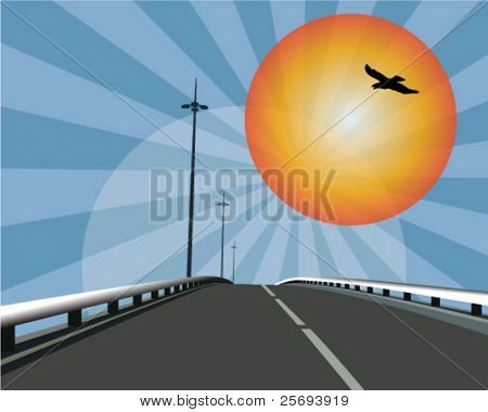 Lonely highway by sunrise