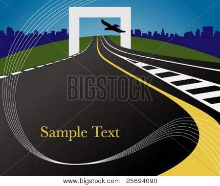 Vector illustration of a lonely highway with sample text