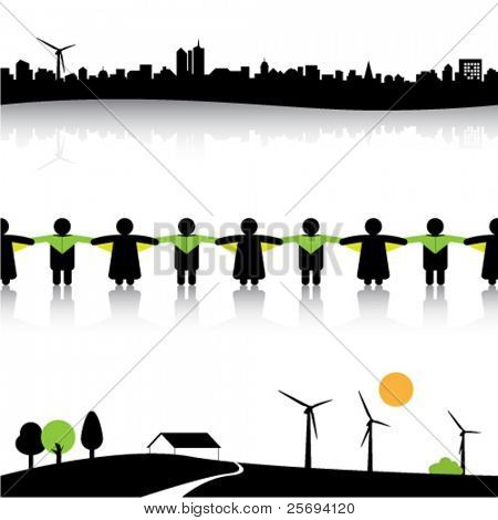 Vector illustration of the green way.