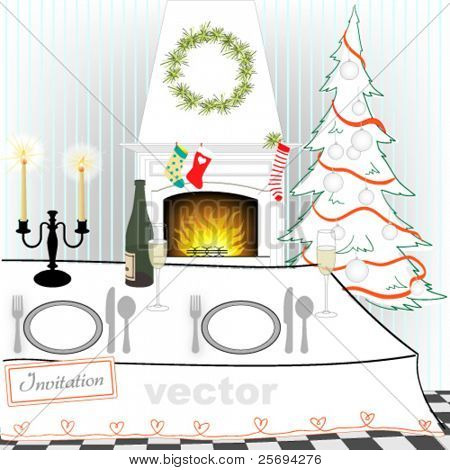 Christmas dinner table with fireplace