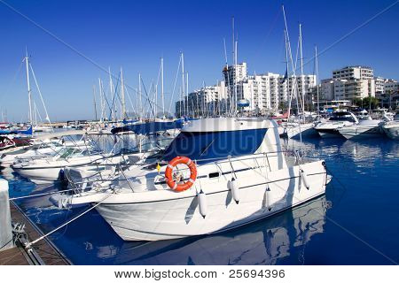 Ibiza San antonio Abad boats marina port in blue summer day at Spain