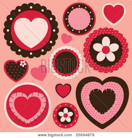 collection cute heart element