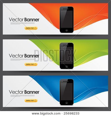 vector website headers, smart phone promotion banners