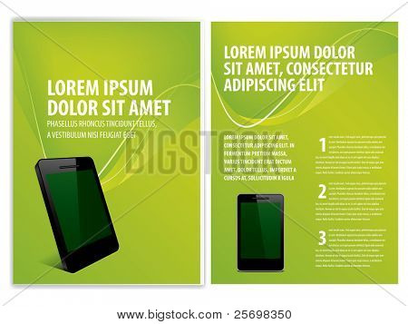 vector business brochure, smartphone flyer template
