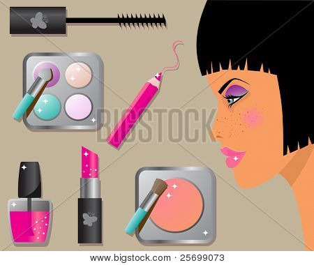 Make-up icon set: lipstick, nail polish, mascara and eye shadows