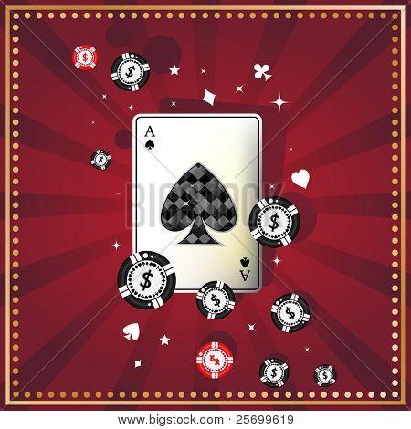 Diamond spade ace on red felt