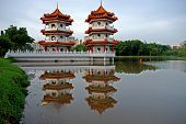 Reflection And Pagoda At The Lake Sides
