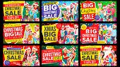 Christmas Sale Banner Set Vector. Discount Up To 50 Off. Big Christmas Banner Vector. Background. Sp poster