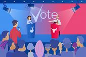 Open Debates Before Vote Cartoon Vector Concept With Leaders Of Opposing Political Parties Conductin poster