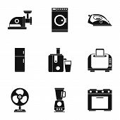 Appliances Icons Set. Simple Illustration Of 9 Appliances Icons For Web poster