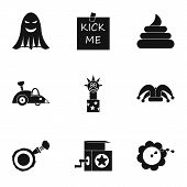 April Fool Day Icons Set. Simple Illustration Of 9 April Fool Day Icons For Web poster