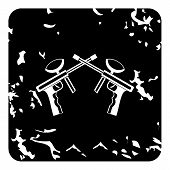 Two Paintball Gun Icon. Grunge Illustration Of Two Paintball Gun Icon For Web poster