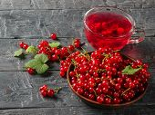Glass Mug With A Refreshing Drink Of Red Currant And A Bowl Of Fresh Berries. Refreshing Natural Dri poster