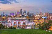 Kansas City, Missouri, USA downtown skyline with Union Station at dusk. poster
