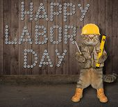 The Cat Worker In A Helmet Wrote On The Wooden Fence happy Labor Day By Screws. poster