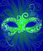 foto of mardi gras mask  - green eye mask - JPG