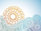 stock photo of mehendi  - Detailed henna abstract sunrise - JPG