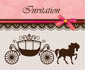 picture of greeting card design  - Invitation card with carriage  - JPG