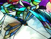 pic of stained glass  - colorful stained glass dragonfly - JPG