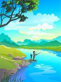 Mom and Kid fishing on riverside