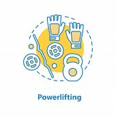 Powerlifting Concept Icon. Weightlifting Idea Thin Line Illustration. Gym. Barbell And Kettlebells,  poster