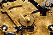 Clockwork Movement, Closeup Gears And Mechanicals, Golden Background poster
