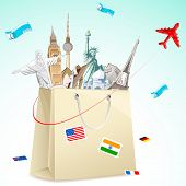 stock photo of mayan  - illustration of shopping bag full of famous monument with air ticket and airplane flying - JPG