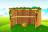 pic of tabernacle  - illustration of sukkah decorated with leaves and fruit for sukkot - JPG
