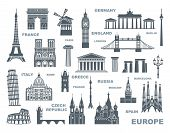 Collection Of Europe Detailed Silhouettes. Set Travel Landmarks. Vector Illustration poster